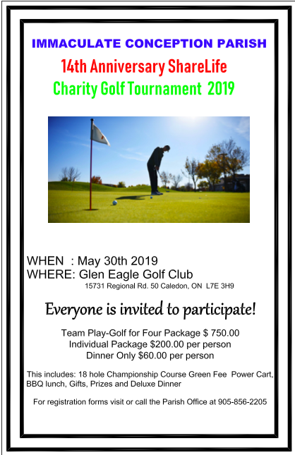 The 14th Annual Immaculate Conception Charity Golf Tournament